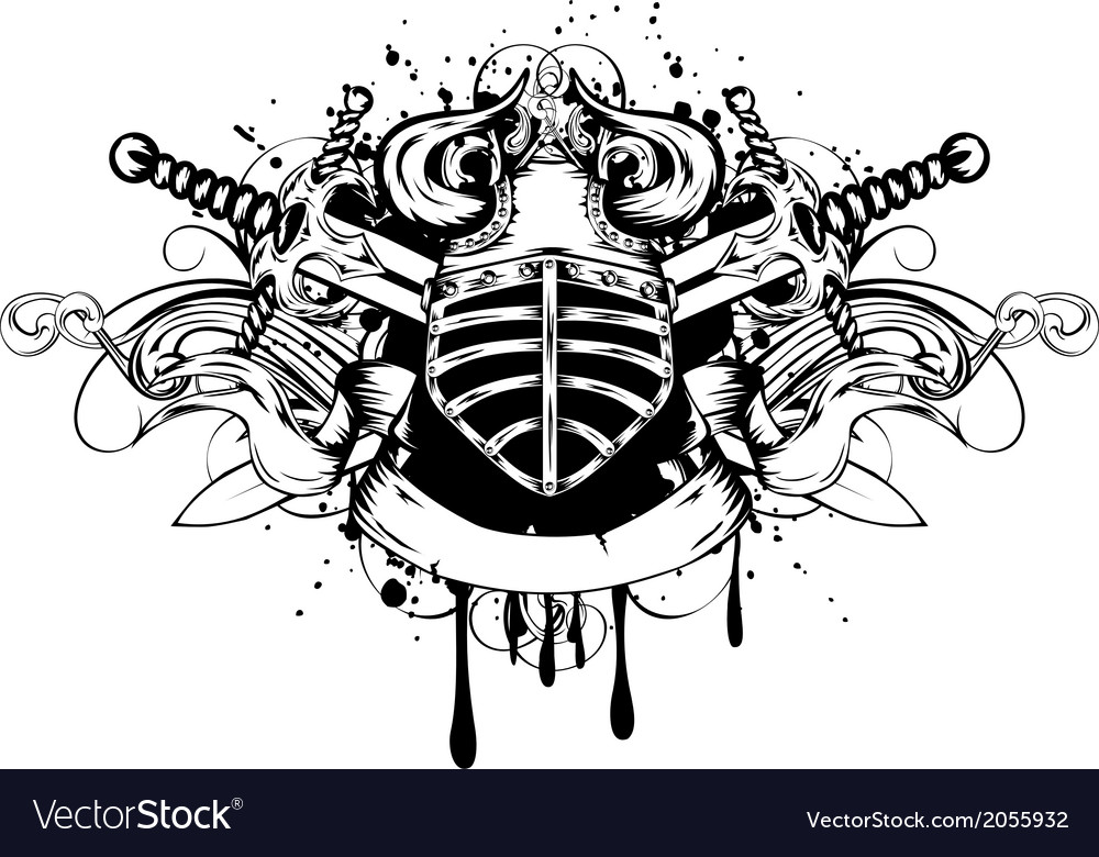 Helmet and swords vector image