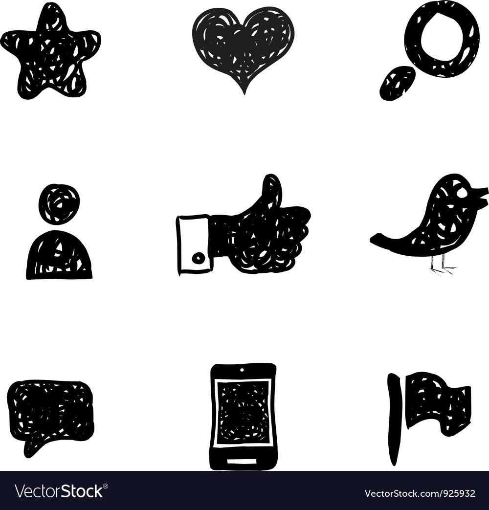 Sketch Social Media icons vector image