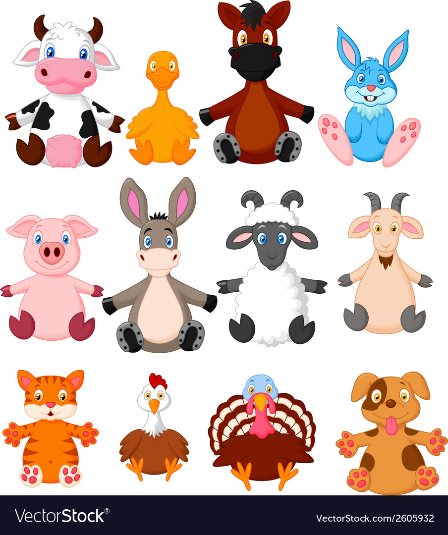 Farm animal cartoon collection vector image