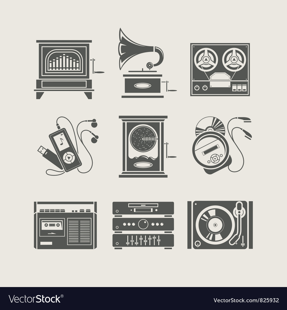 Musical device set of icon vector image