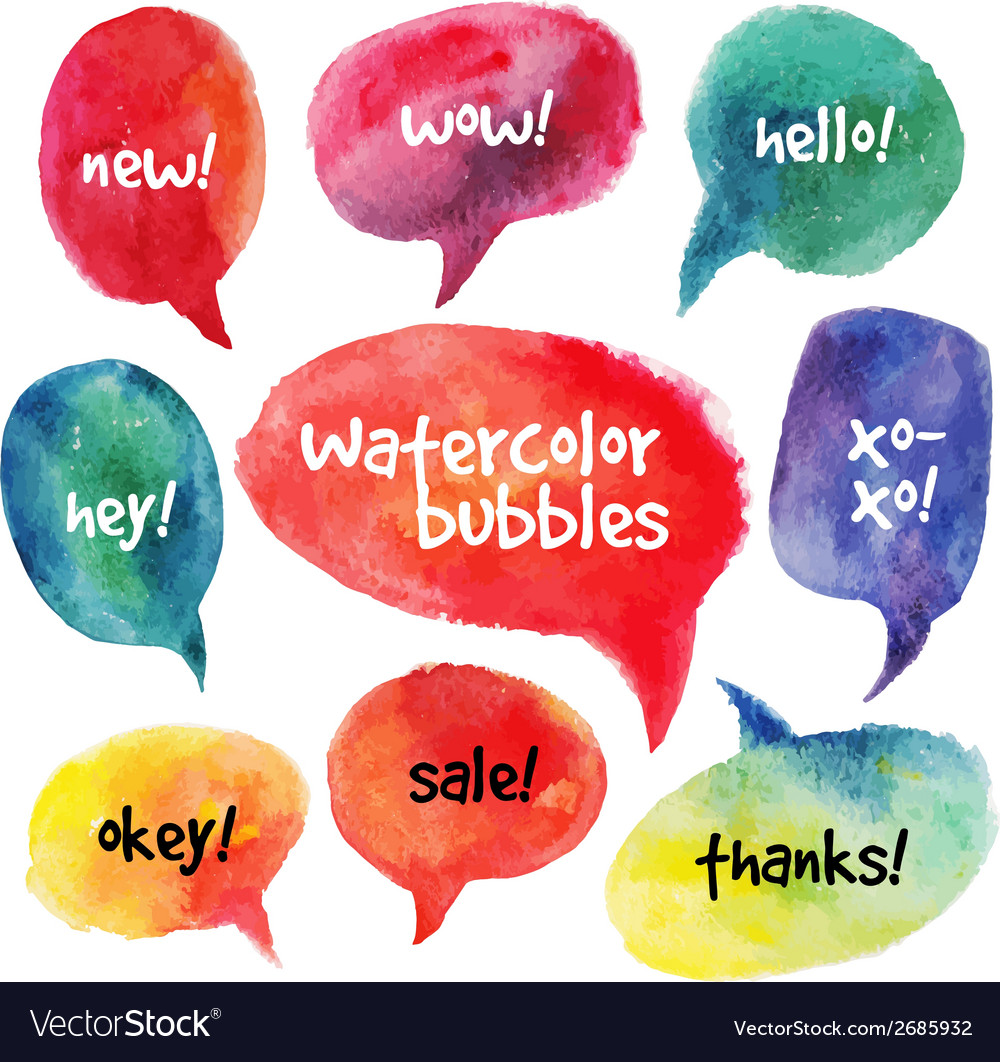 Watercolor speech bubbles set vector image