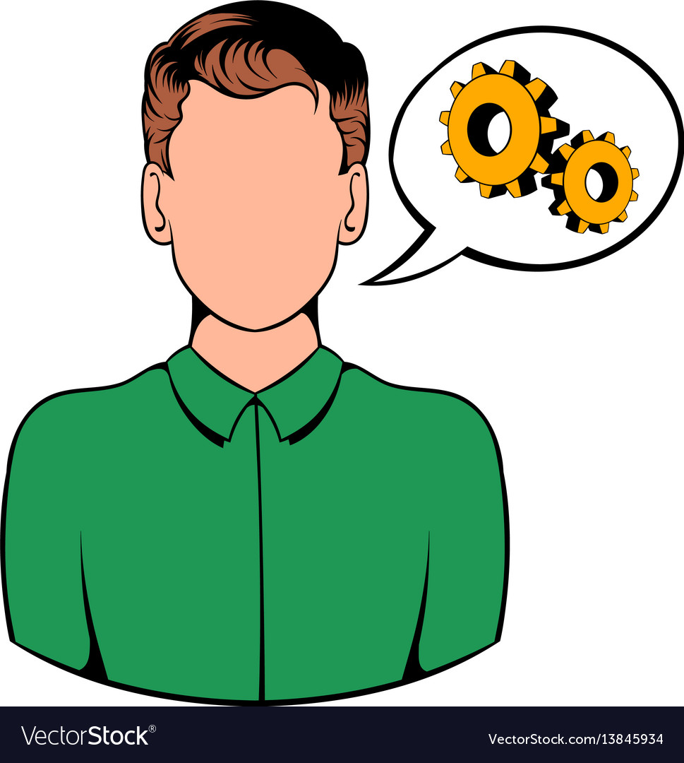 Businessman and gears in speech cloud icon cartoon vector image