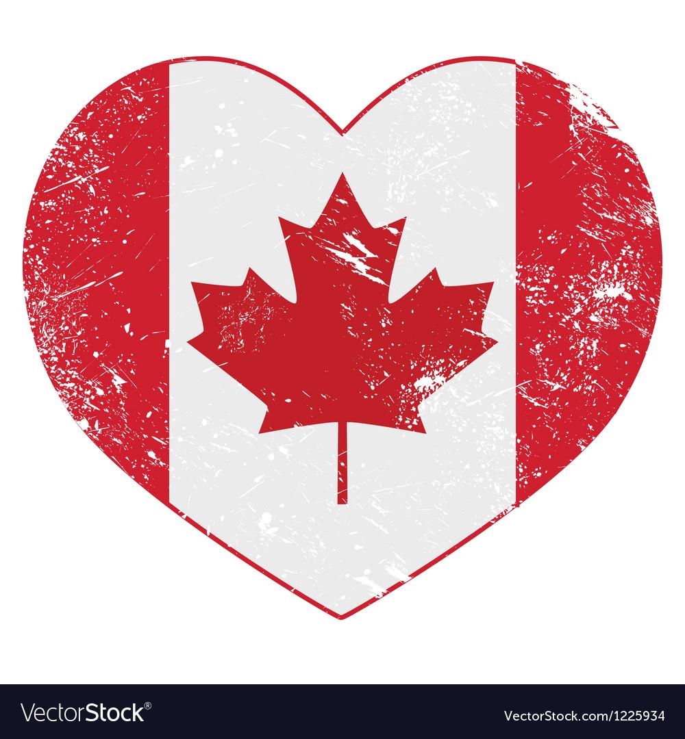 Canada heart retro flag vector image