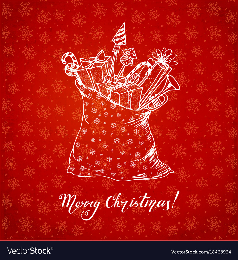 Greeting card with christmas gifts hand drawn in vector image