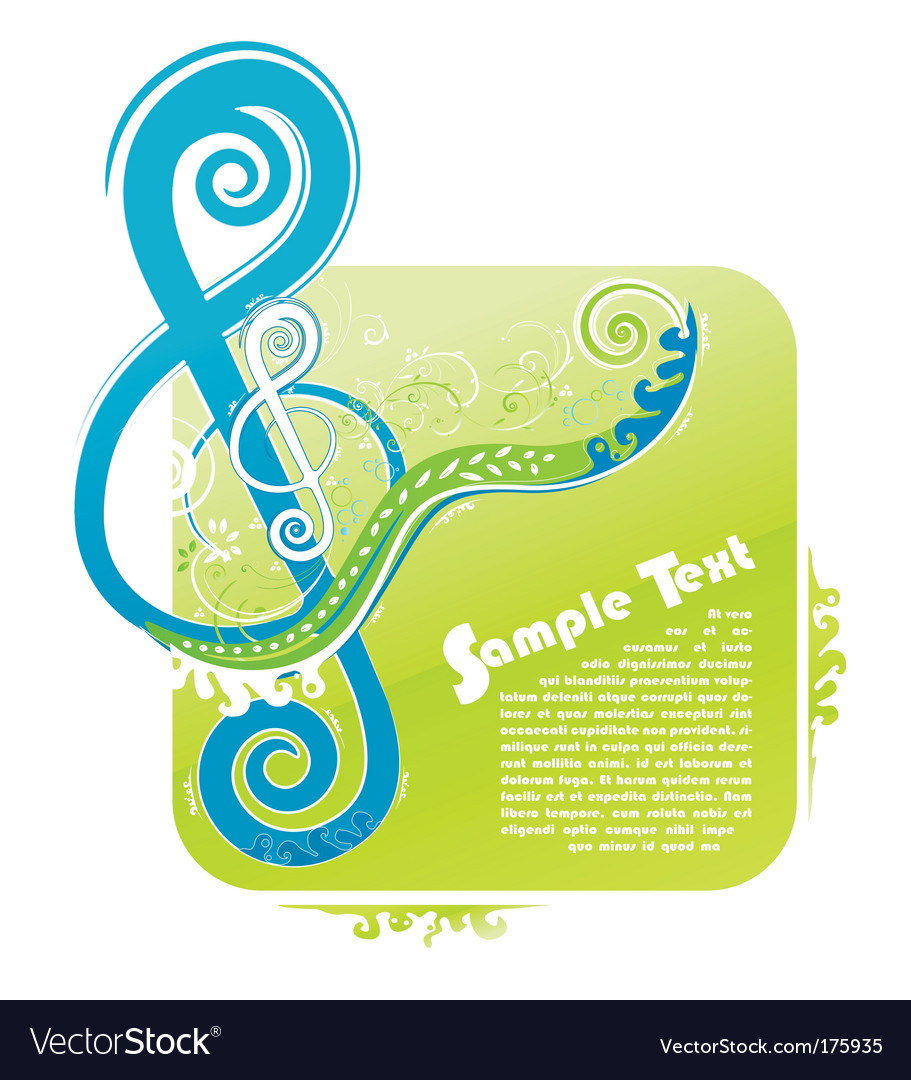 Violin key floral design vector image