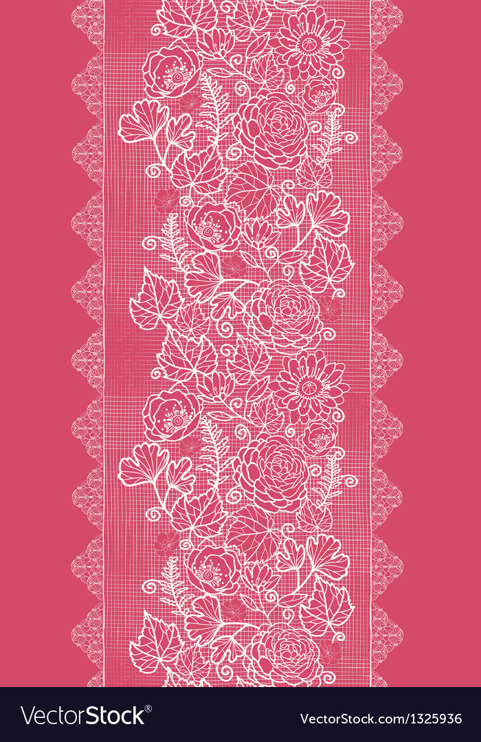 Blue lace flowers vertical seamless pattern vector image