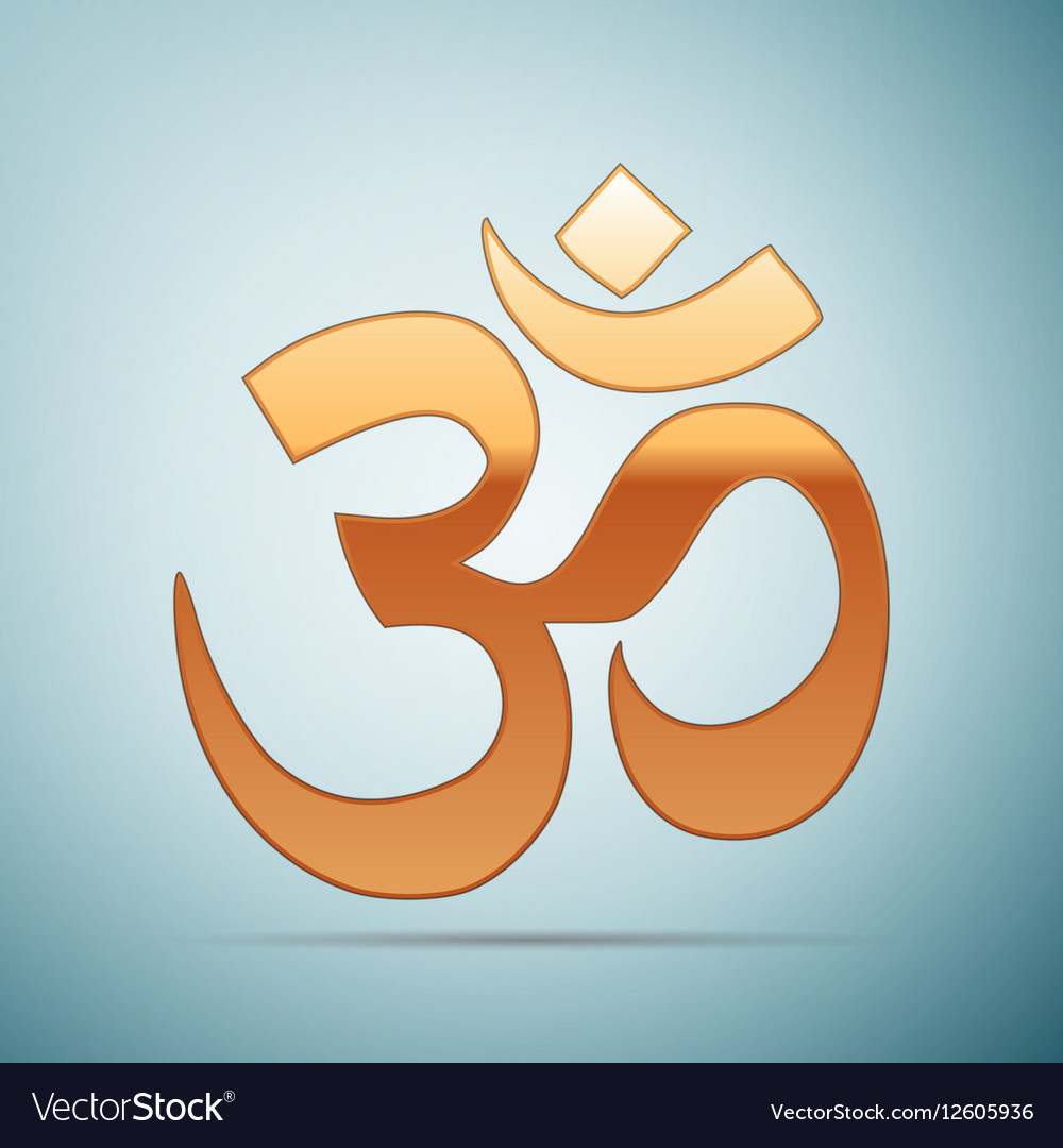 Gold sign om symbol of buddhism and hinduism vector image biocorpaavc Images