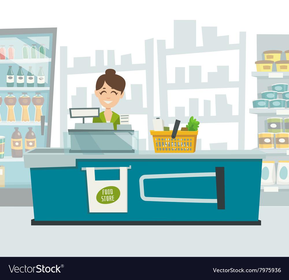 Cashier Cartoons: Supermarket Cashier Within Shop Interior Cartoon Vector Image