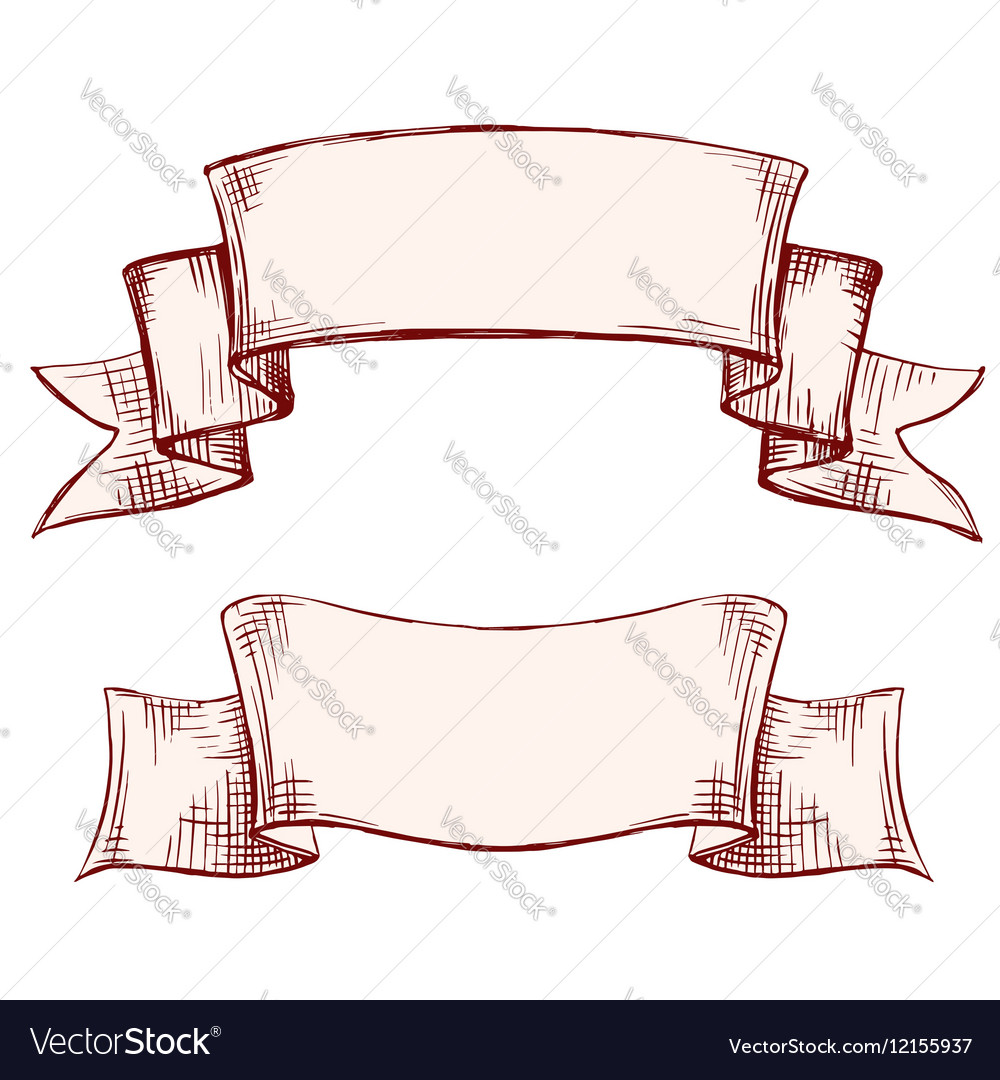 Banners labels set vintage frame hand drawn vector image