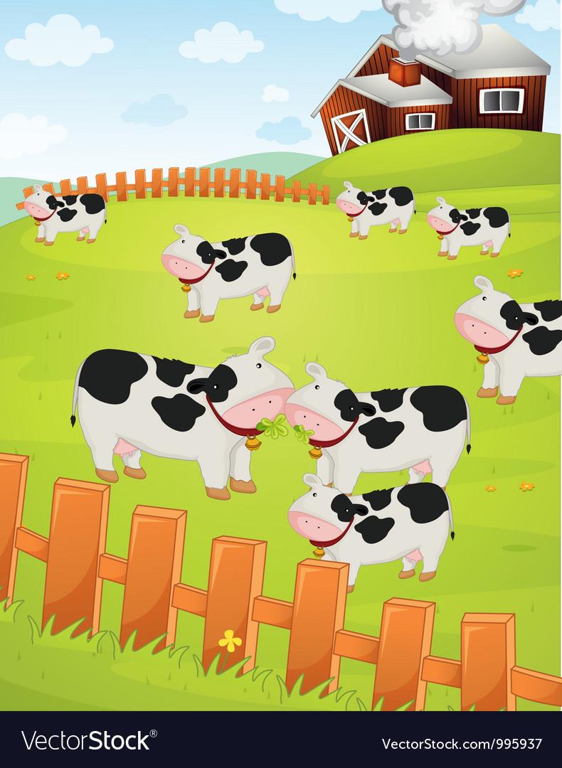 Cows on a farm vector image