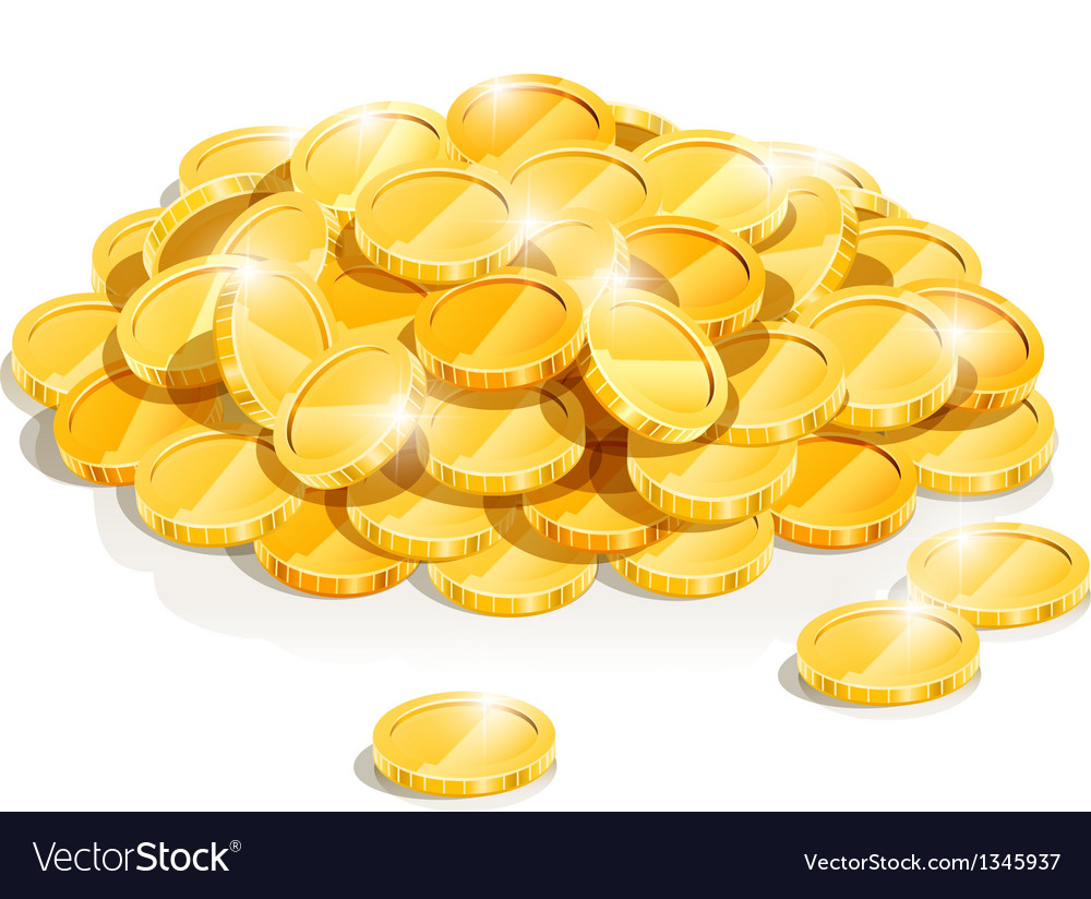 Golden coin heap vector image