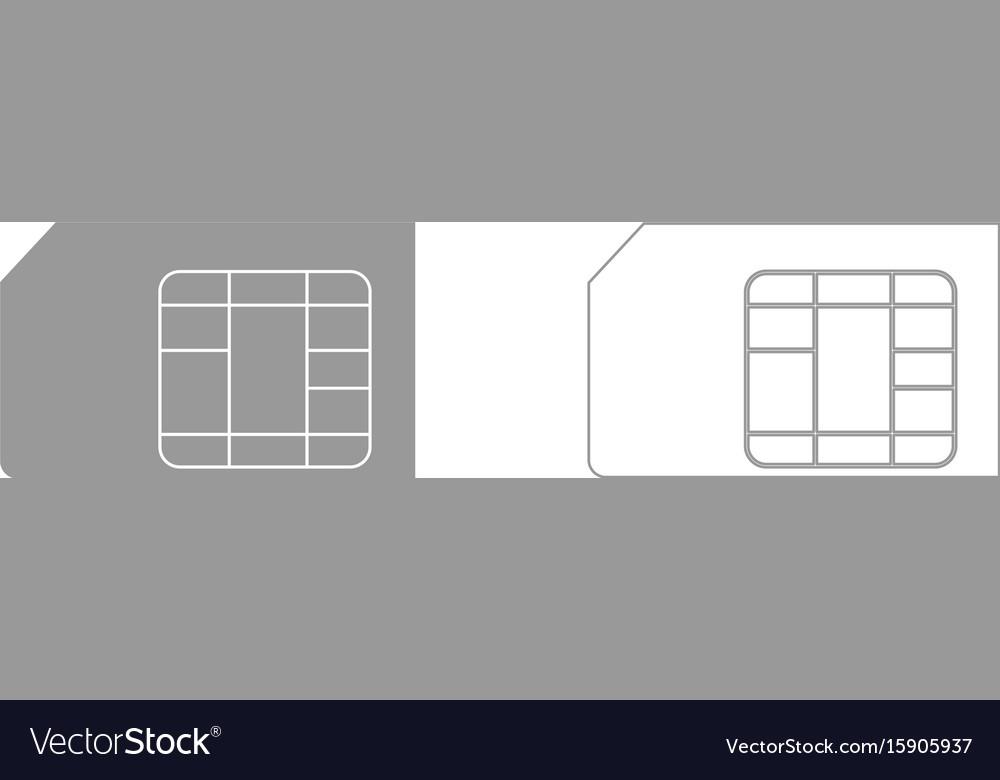 Sim card the grey set icon vector image