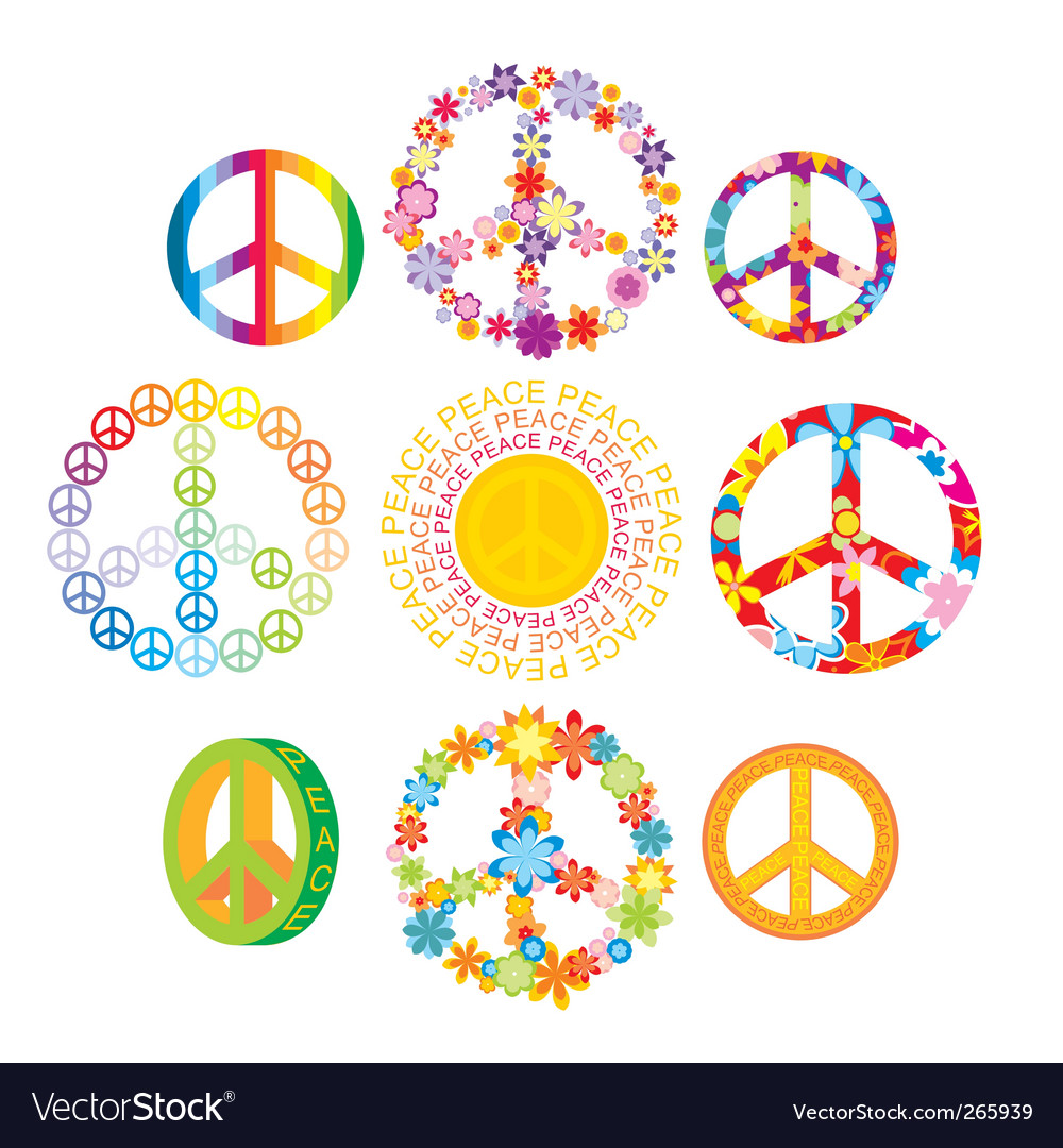 Set of peace symbols vector image