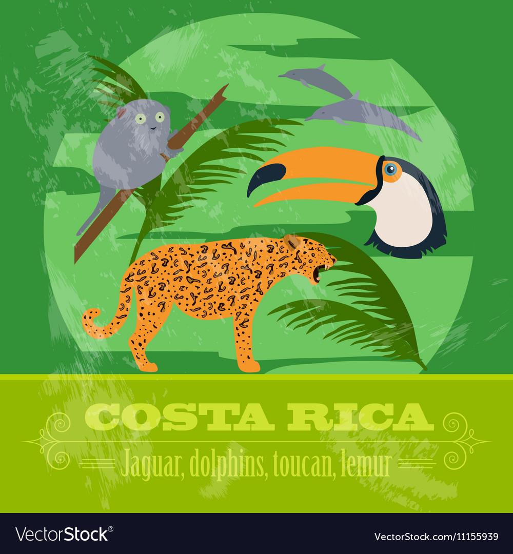 Costa rica national symbols dolphins jaguar toucan costa rica national symbols dolphins jaguar toucan vector image biocorpaavc Gallery