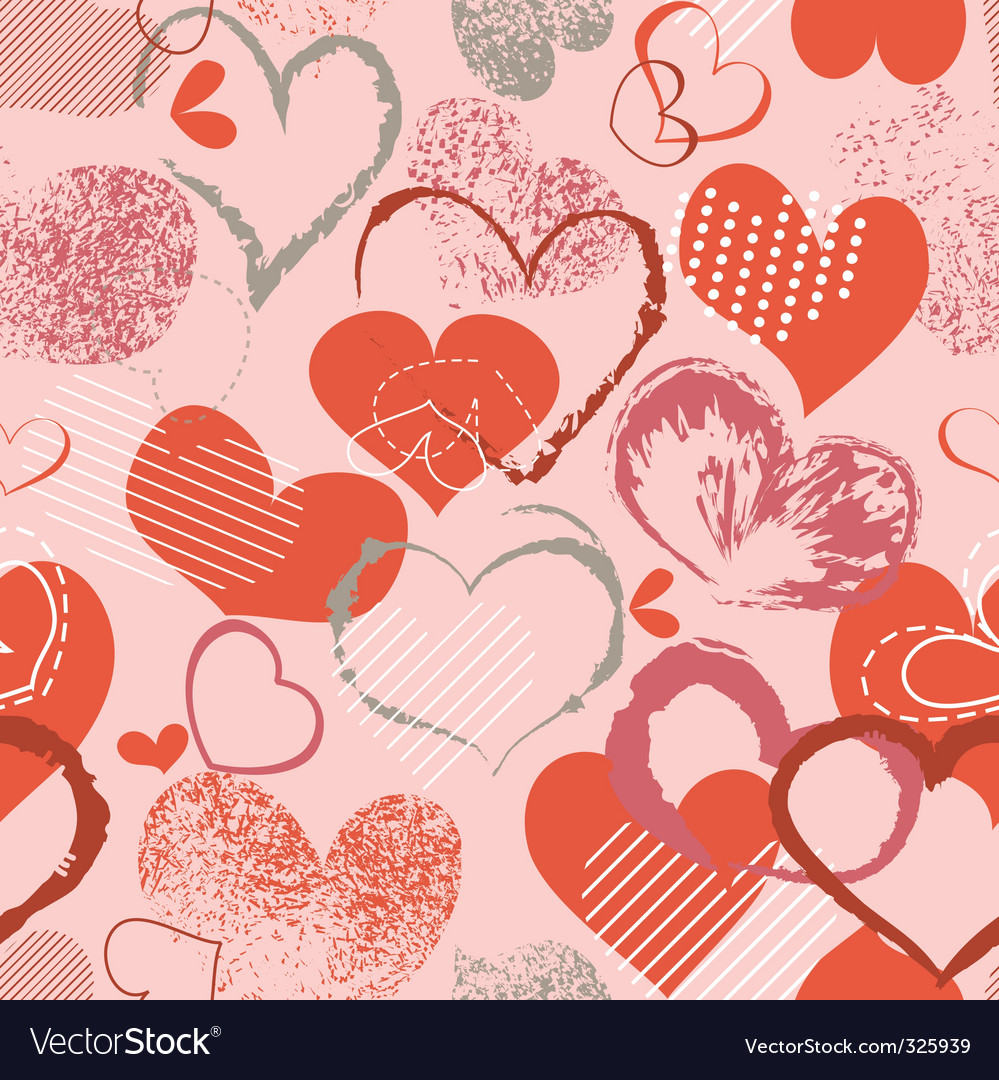 Grunge hearts pattern vector image