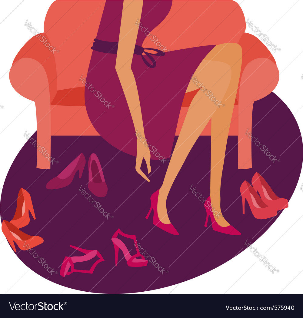 Girl buying shoes vector image