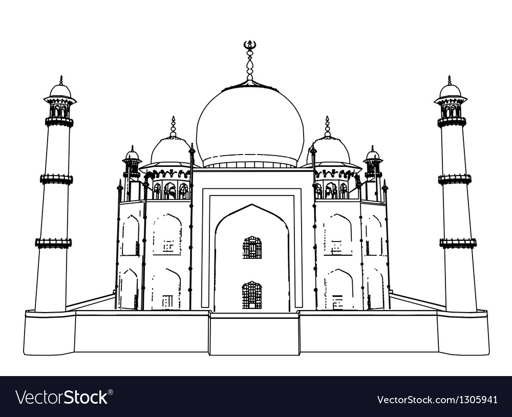 Taj Mahal outlines in very high detail 3d vector image