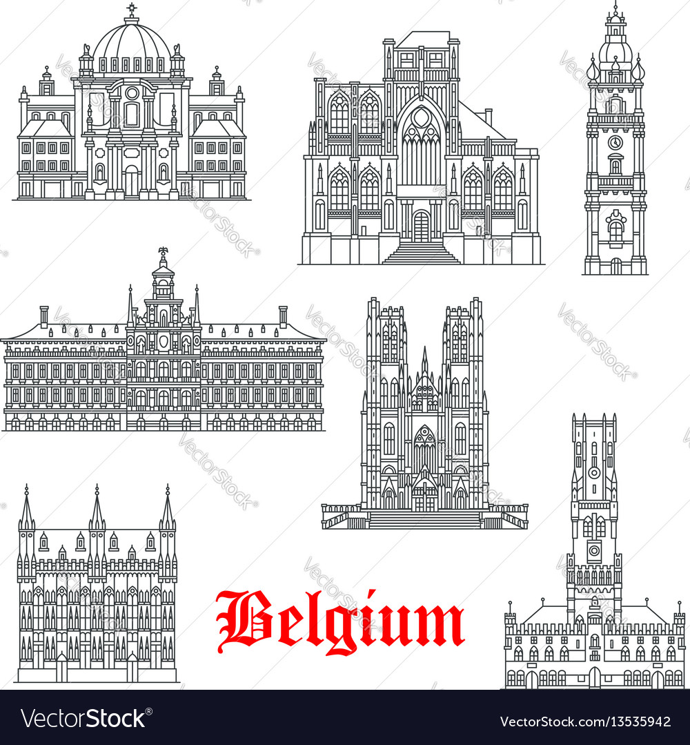 Architecture buildings of belguim icons vector image