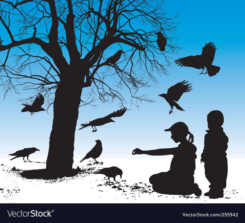 Children fed birds vector image