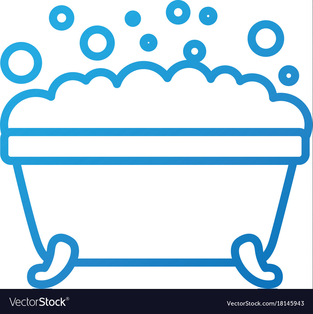 Bathtub foam clean hygiene interior ceramic icon Vector Image