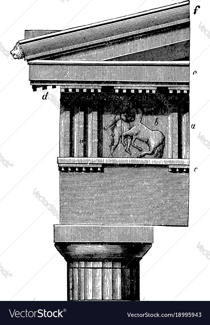 Doric Order Frieze The Parthenon At Athens Vector Image