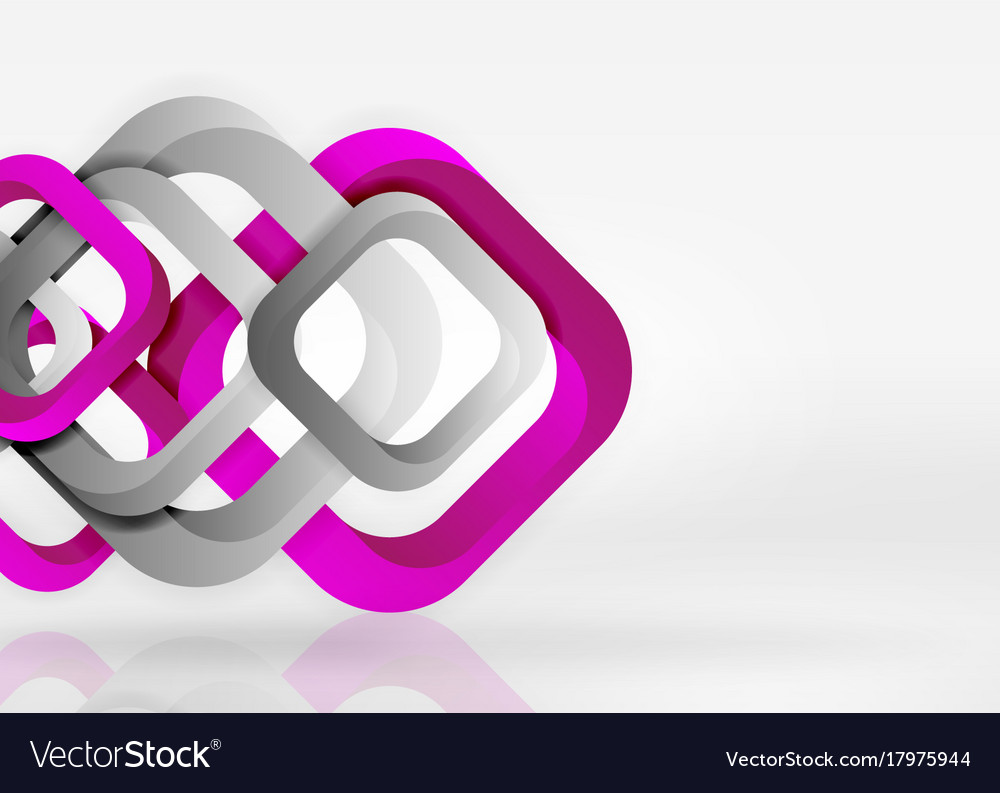 Squares geometric shapes in light grey 3d space vector image