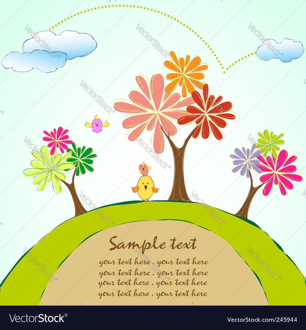 Tree bird wallpaper vector image