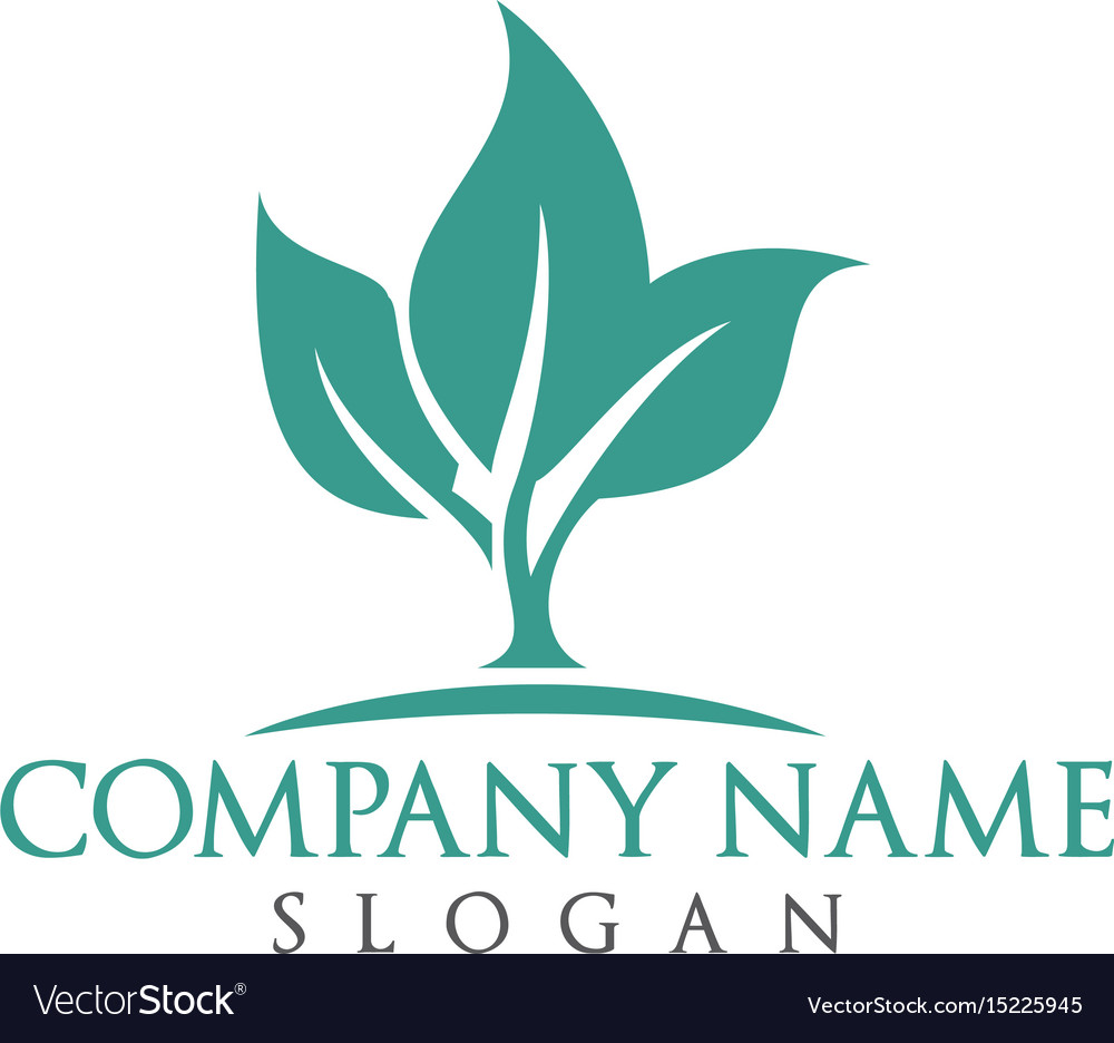 Green leaves ecology nature element logo vector image