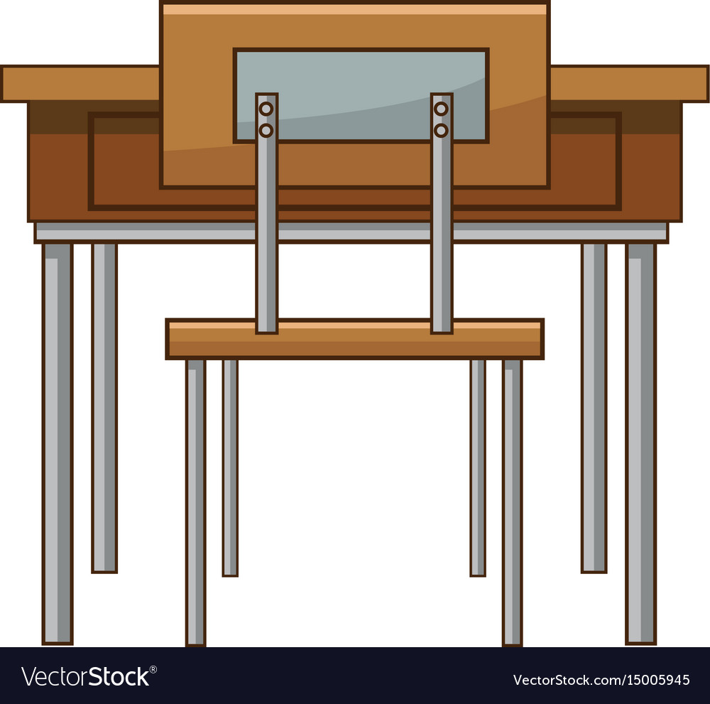 classroom table vector. school table and chair of classroom vector image h