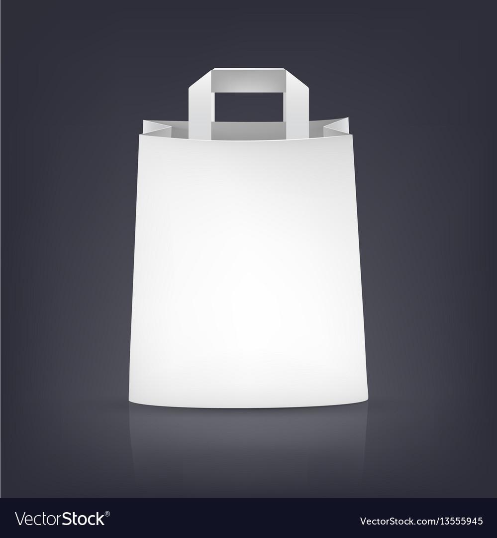 White paper bag on dark vector image