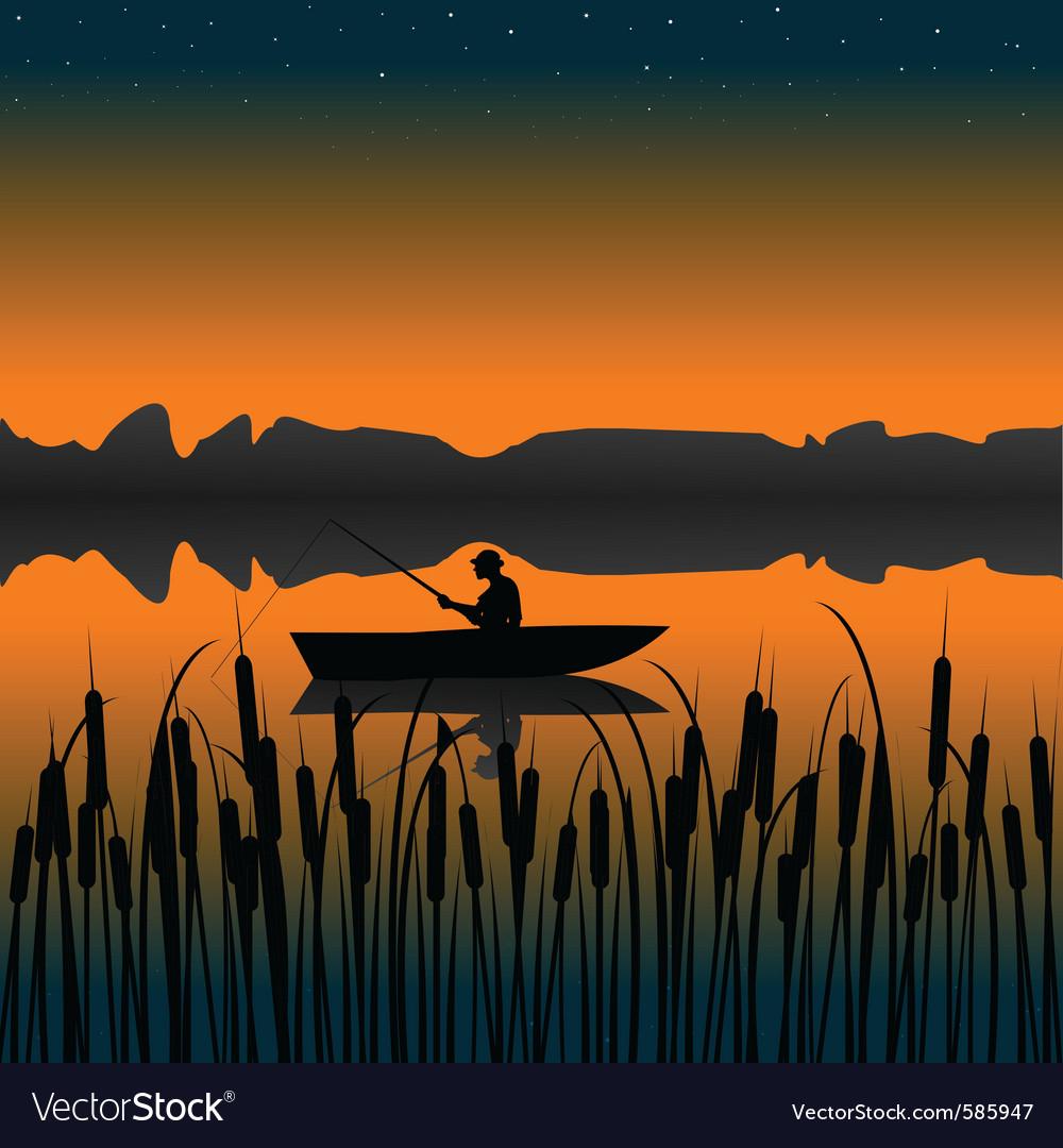 Night fishing landscape Vector Image