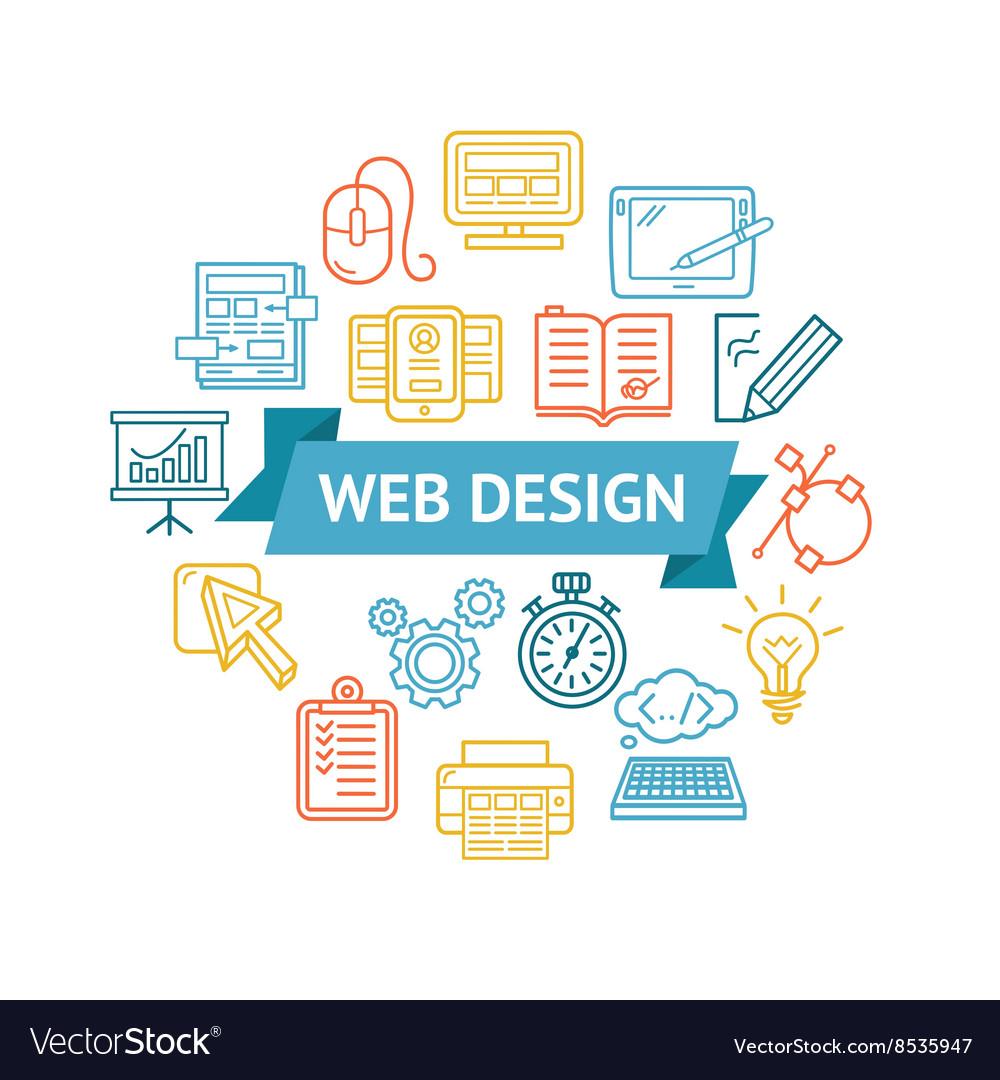 Web Design Icon Concept vector image