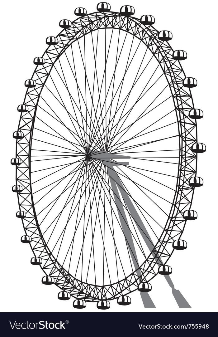Silhouette of ferris wheel vector image