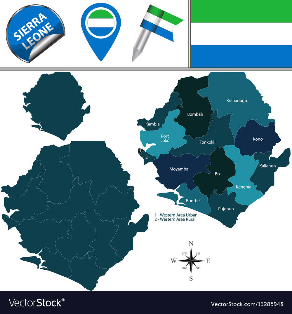 Map of sierra leone with named districts vector image