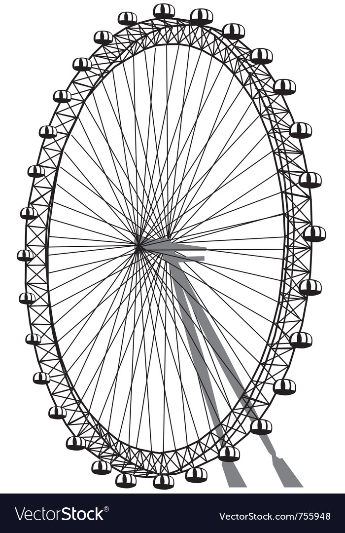 Silhouette of ferris wheel vector image