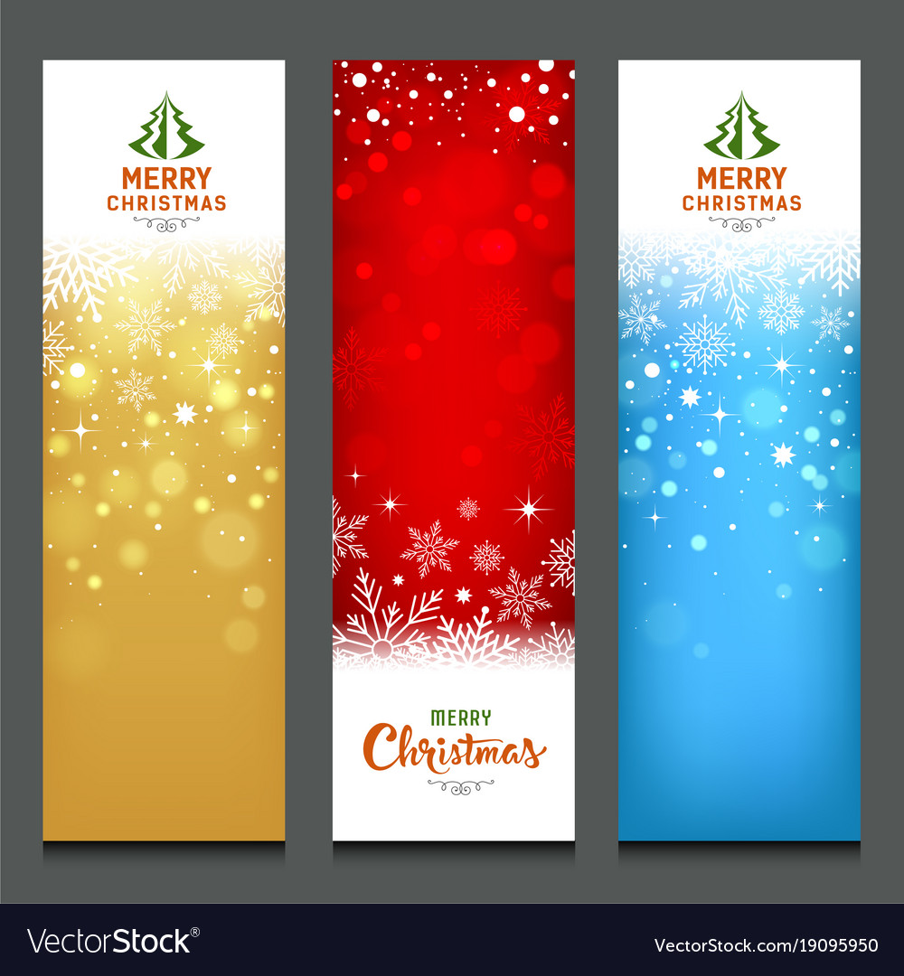 Merry christmas colorful banners design vertical vector image