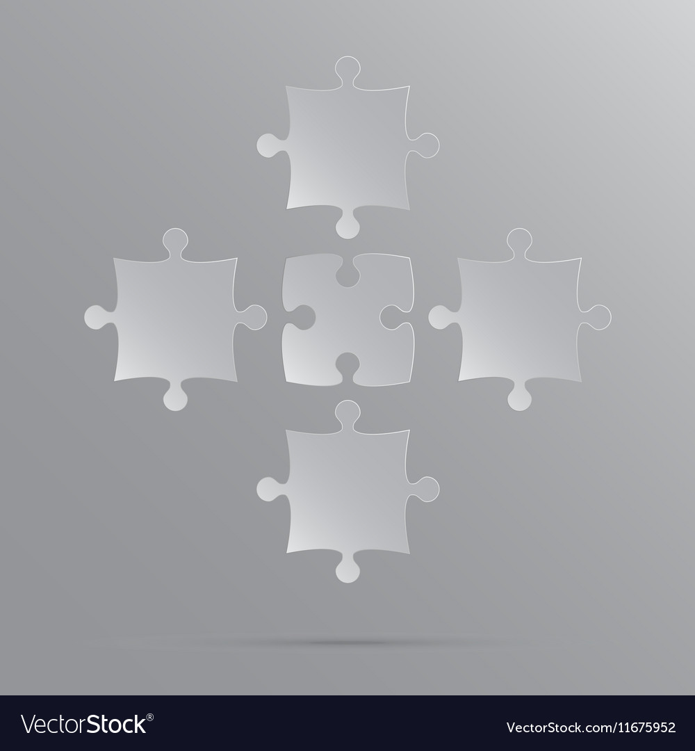 5 Grey Puzzles Pieces JigSaw vector image