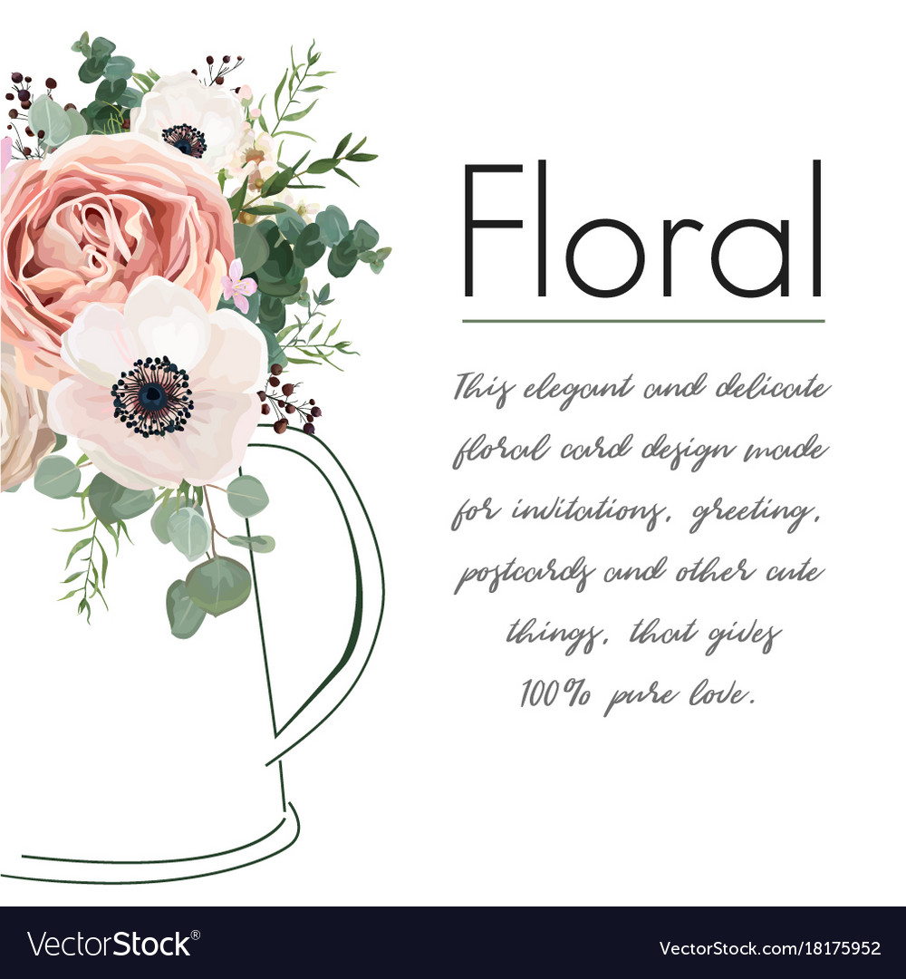 Floral elegant card design peach rose flower vector image
