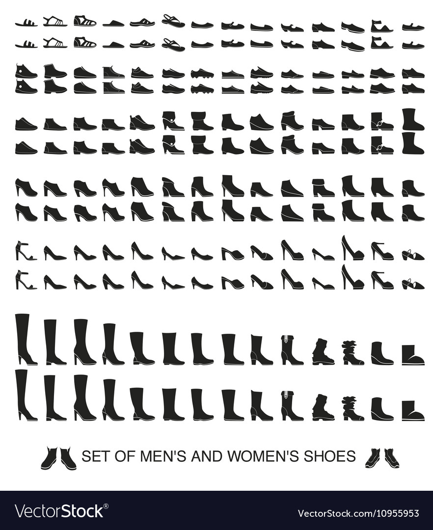 Isolated silhouettes of men and women shoes vector image