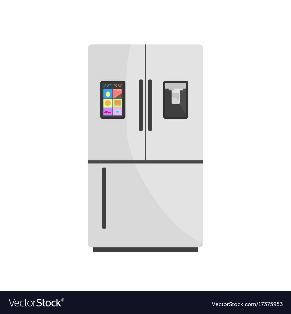 Modern smart fridge isolated on background vector image