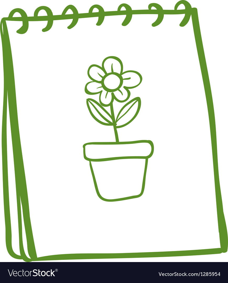 A notebook with a drawing of a flower in a pot vector image