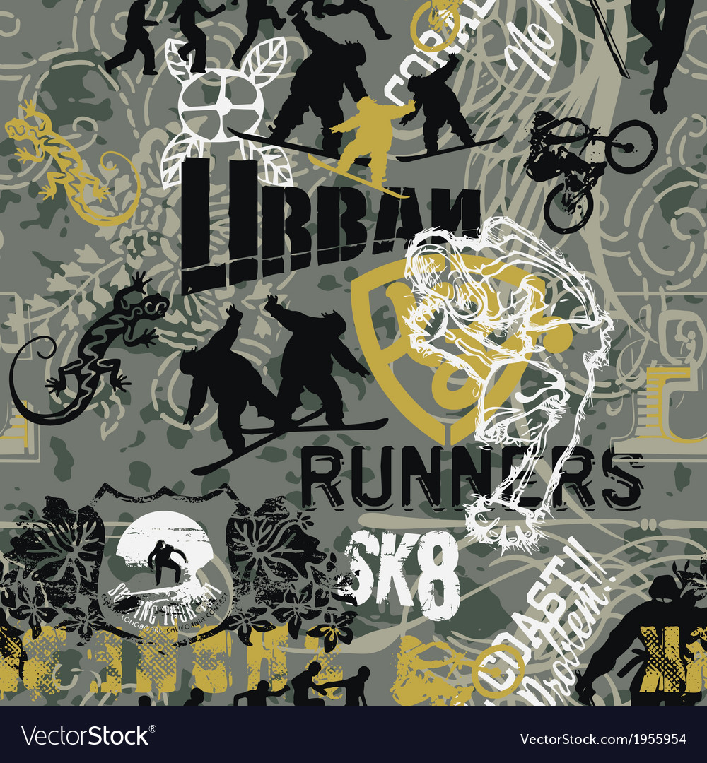 Grunge urban sports patchwork vector image