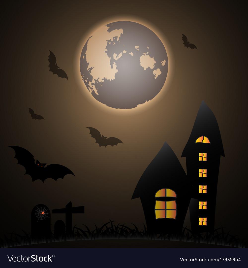 Mystery halloween moon night Royalty Free Vector Image