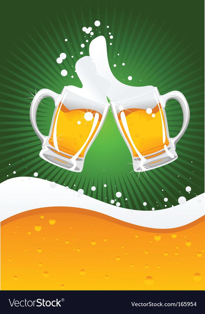 Two beer mugs vector image