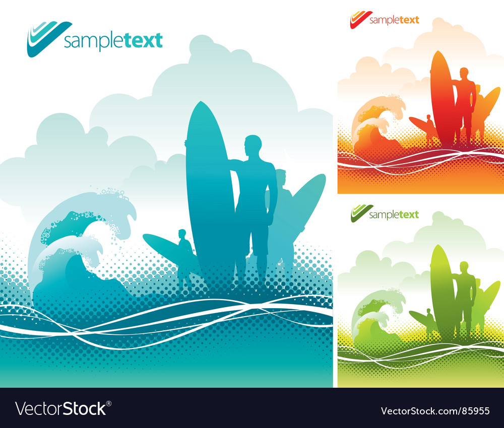 Surfers team vector image