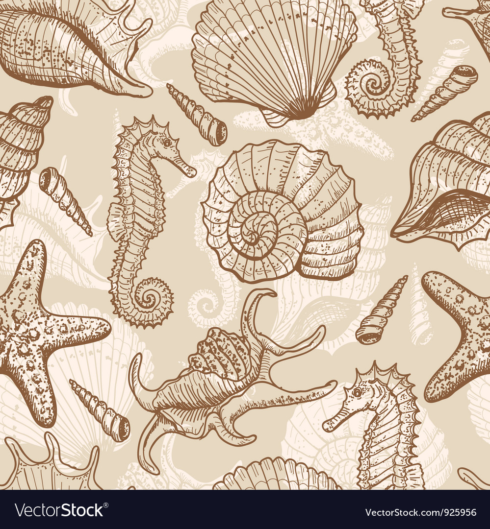 Sea hand drawn seamless pattern vector image