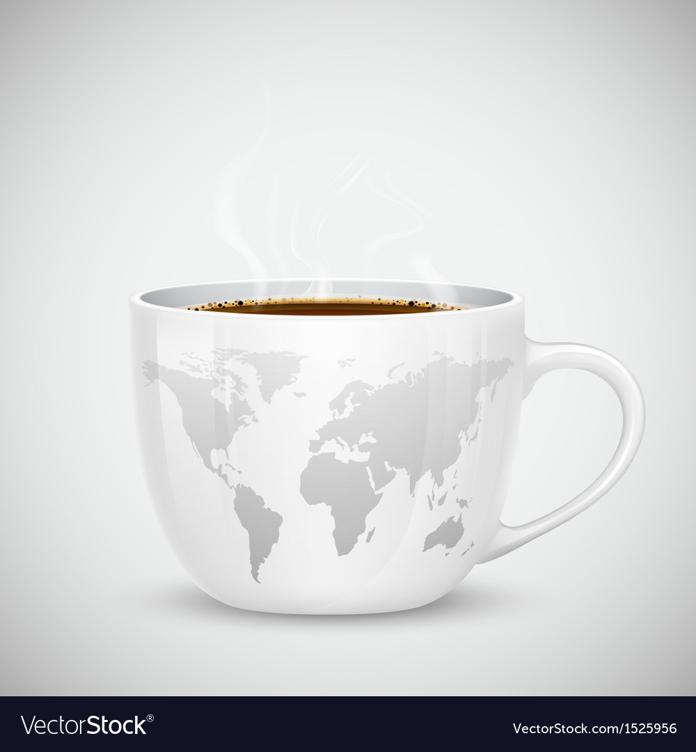 World Map on Cup vector image