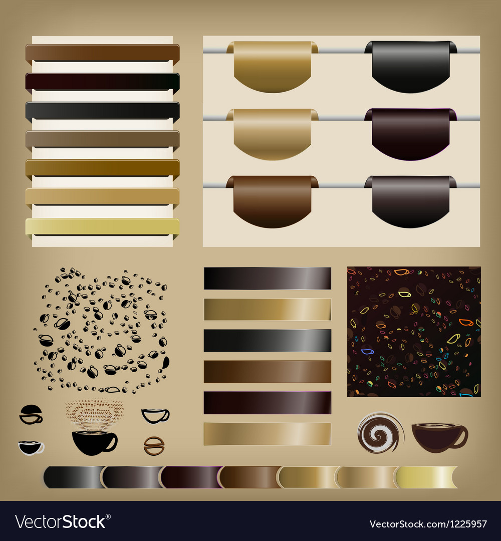 Coffee Set of ribbons vector image