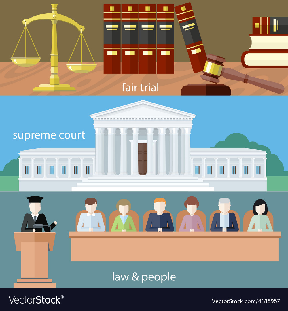 Fair trial Supreme court Law and people vector image