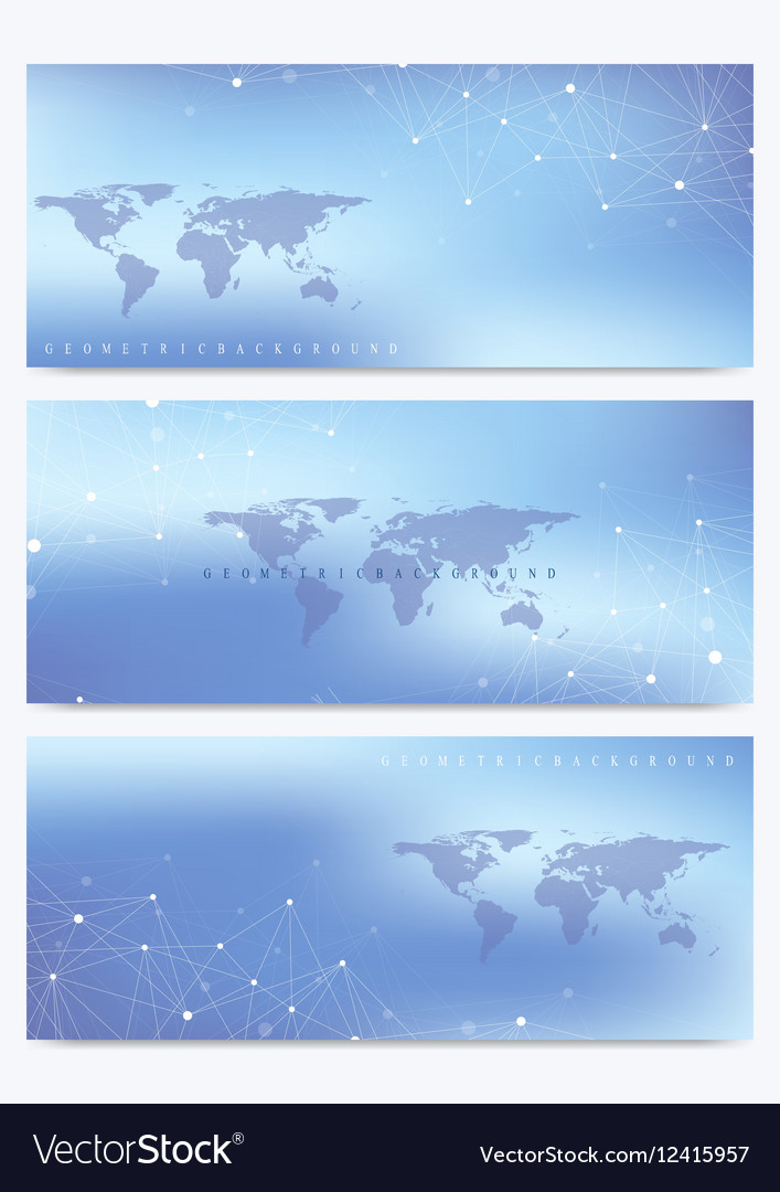 Modern set of banners with World Map vector image